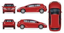 Red Hatchback Car Vector Mocku...