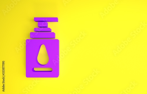 Photo Purple Personal lubricant icon isolated on yellow background