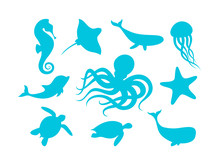 Marine Animals Outline Set Vec...