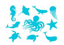 Marine Animals Outline Set Vec...