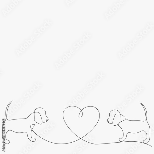 Obraz Beagle dog puppy line drawing. Vector illustration - fototapety do salonu