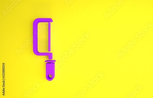 Obraz na plátně Purple Hacksaw icon isolated on yellow background