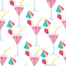 Vector Seamless Pattern With Cocktails Decorated With Strawberries And  Colorful Umbrellas. Great For Fabrics, Wrapping Papers, Covers. Hand Drawn Illustration On White Background.