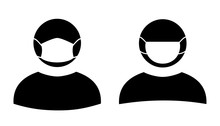 Human Wearing Medical Masks, Protecting Themselves Against Pandemic Epidemic Infection. Corona Virus - COVID-19, Virus Contamination, Pollution, Antivirus. Disposable Medical Mask Icon.