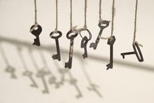 Old Keys Hanged On The Ropes W...