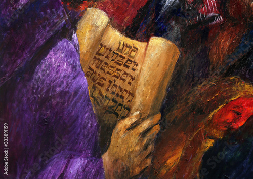 Fotografia The prophet Isaiah, the Old Testament, detail of high altar by Sieger Koder in St