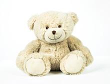 Cute White Teddy Bear On White Background.