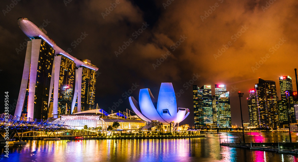Marina Bay Sands and ArtScience Museum in Singapore after sunset