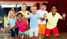 Happy Emotional Children Posing At Modern Dance Class