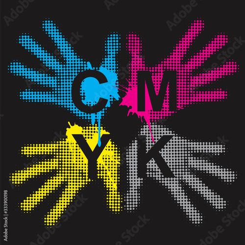Vászonkép CMYK print colors background with handprints