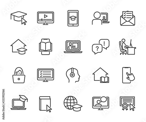 Stampa su Tela Vector set of online education line icons