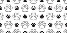 Dog Paw Seamless Pattern Footp...