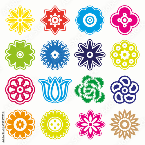 FLOWERS ICON VECTOR SET Wallpaper Mural