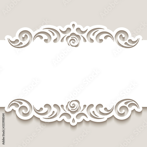 Cutout paper frame with swirly lace borders Tapéta, Fotótapéta