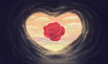 Surreal Red Rose In Heart Cave With The Sea