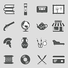 Antique Store Icons. Sticker D...