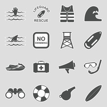 Beach Lifeguard Icons. Sticker...