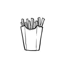 Hand Drawn French Potato Pack Box. Cartoon Fast Food Fry Potato Isolated Illustration.doodle