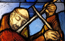 Saint Francis Of Assisi, Detail Of Stained Glass Window By Sieger Koder In Franciscan Abbey In Kleinostheim, Germany