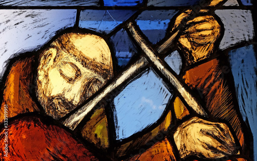 Fototapety, obrazy: Saint Francis of Assisi, detail of stained glass window by Sieger Koder in Franciscan abbey in Kleinostheim, Germany