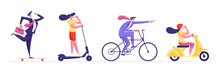 Set Of Business People Racing On Ecology Transport As Scooter, Bicycle, Hoverboard And Moped. City Dwellers Male And Female Characters Driving Different Eco Transportation Cartoon Vector Illustration
