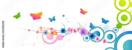 grafica, primavera, fiori, farfalle Tapéta, Fotótapéta