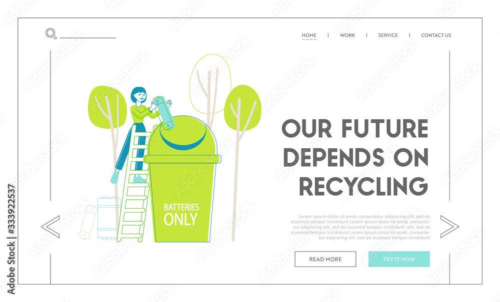 Fototapeta Recycle E-waste Rubbish Landing Page Template. Woman on Ladder Put Huge Battery Garbage into Special Litter Bin for Sorting Waste and Segregation, Environment Protection. Linear Vector Illustration
