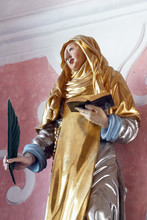 Saint Catherine Of Siena, Statue On The Altar Of Saint Apollonia In The Church Of Saint Catherine Of Alexandria In Zagreb, Croatia