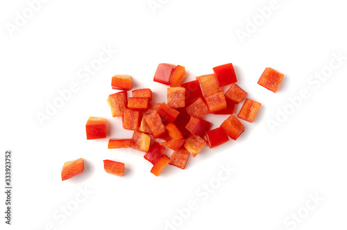 Fotografia Chopped paprika or red sweet pepper cuts isolated