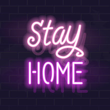 Neon Stay Home Handwritten Let...