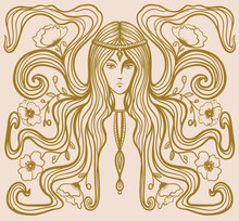 Girl With Poppies In Her Hair In Art Nouveau Style With