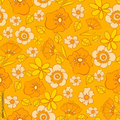 Canvas Print seamless pattern with bright flowers in the style of the 70s