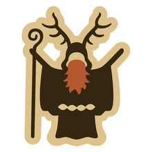 Vector Drawing Of A Bearded Celtic Druid With Antlers Holding A Staff. Can Represent Gaul, Pagan Rituals, Mysticism, Ancient Times, Magic, Sorcery, A Wizard, A Priest, Mythology, Legends, Etc.