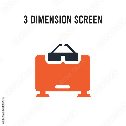 3 dimension screen vector icon on white background Wallpaper Mural