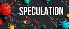 Speculation Theme With Viruses And Downward Stock Price Charts