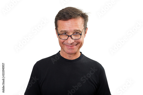 Fototapety, obrazy: Portrait of a smiling Mature man with glasses