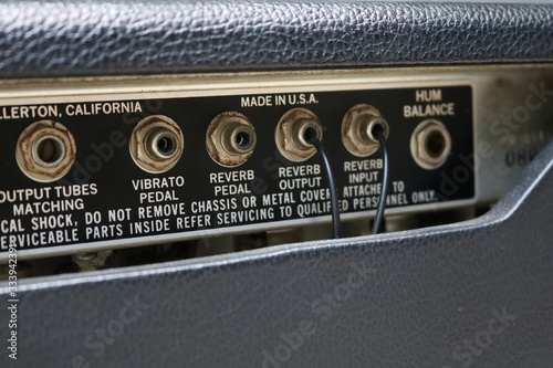 Vintage Amplifier Back Panel. Made in USA. Wallpaper Mural
