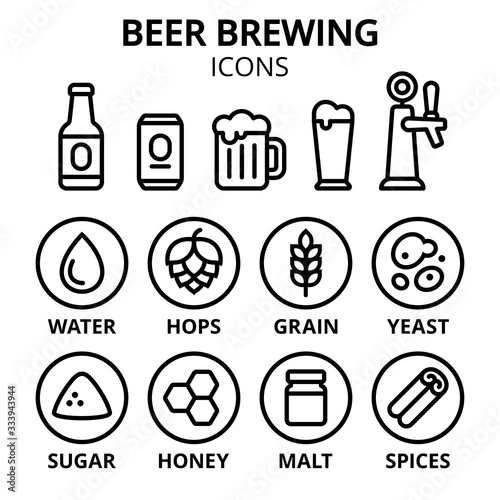 Photo Beer brewing icon set