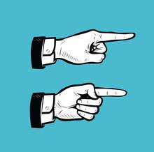 Hand Pointing Finger Sign. Business Vintage Vector Illustration