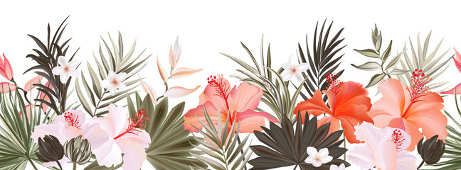 Hibiscus botanic seamless horisontal border banner,  exotic flowers and leaves, vector hand drawn background. Floral realistic pattern, summer arrangements with tropical leaf nature..