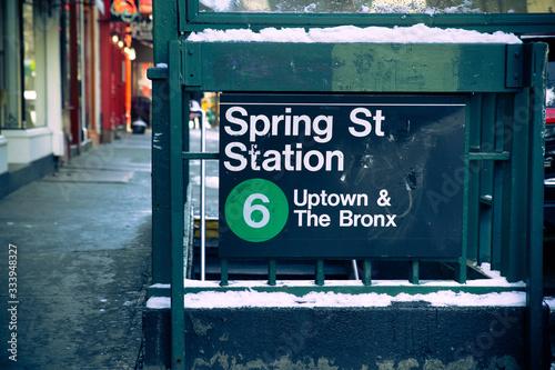 New York City subway station entrance for 6 Train at street corner Canvas Print