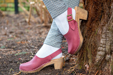 Beautiful Women's Wooden Clog Shoes With Plum Purple Nubuck Leather