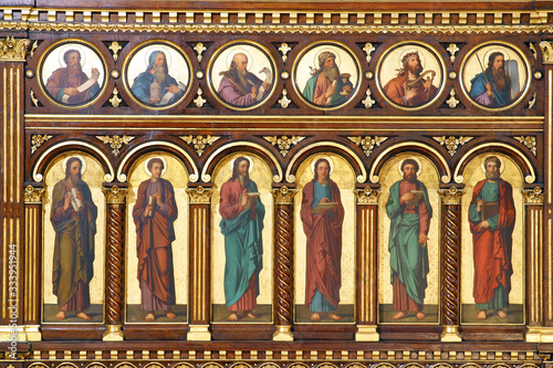 Obraz Prophets and Apostles, detail of Iconostasis in Greek Catholic Co-cathedral of Saints Cyril and Methodius in Zagreb, Croatia - fototapety do salonu