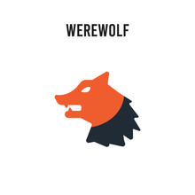 Werewolf Vector Icon On White Background. Red And Black Colored Werewolf Icon. Simple Element Illustration Sign Symbol EPS