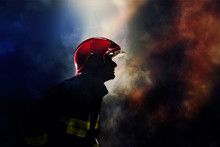Firefighters Silhouette During...