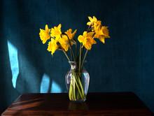 Daffodils In Vase On A Dark Ba...