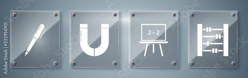 Fotografie, Obraz Set Abacus, Chalkboard, Magnet and Pen