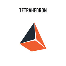 Tetrahedron Vector Icon On White Background. Red And Black Colored Tetrahedron Icon. Simple Element Illustration Sign Symbol EPS