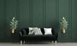 Leinwanddruck Bild - Modern loft living room interior design and green pattern wall background