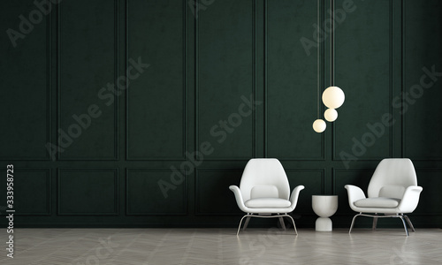 Obraz Green living room interior design and green pattern wall background - fototapety do salonu